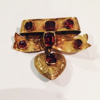 Antique Garnet Heart Brooch.