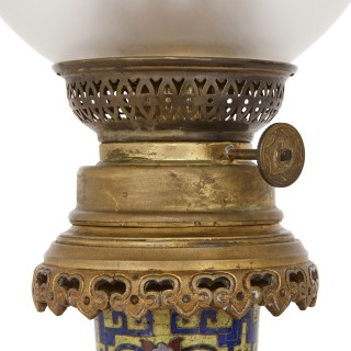 Two antique cloisonné enamel and gilt bronze oil lamps