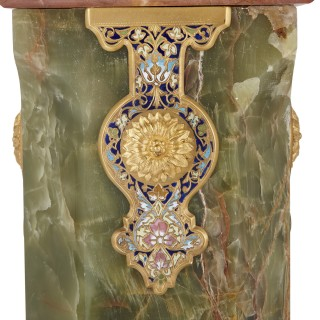 Near pair of onyx, marble, gilt bronze, enamel and porcelain pedestals