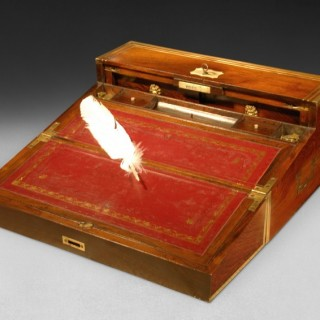 Regency Period  Rosewood and Brass Inlaid Campaign Writing Slope