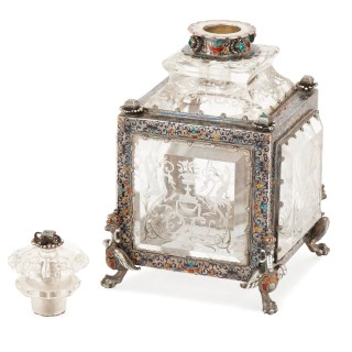 Antique Viennese rock crystal and enamelled silver toilet set in wooden case