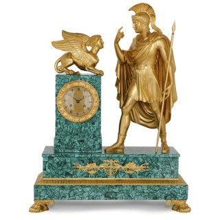 Antique gilt bronze and malachite mantel clock by Galle