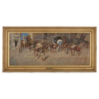 Antique Orientalist painting of Middle Eastern scene