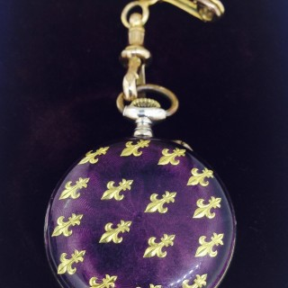 Silver and Enamel and Gold Fob Watch.