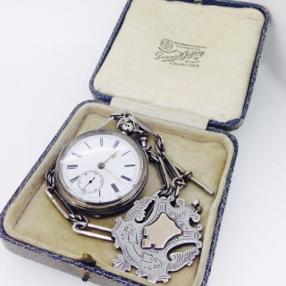 Large Silver Pocket Watch and Chain.