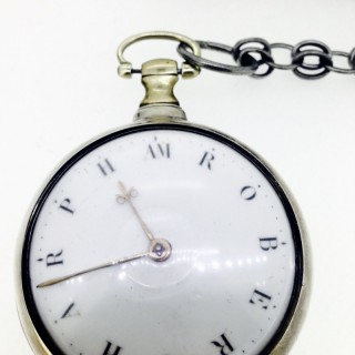 Rare Dial Name Silver Pocket Watch.