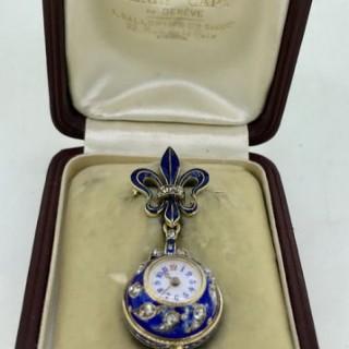 Belle Epoque Enamel and Diamond Fob Watch