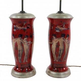PAIR OF POMPEIAN DECLAMANIA LAMPS