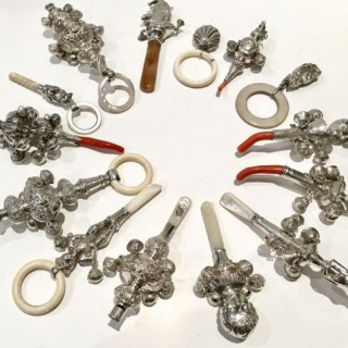 Selection of Antique Silver Rattlles