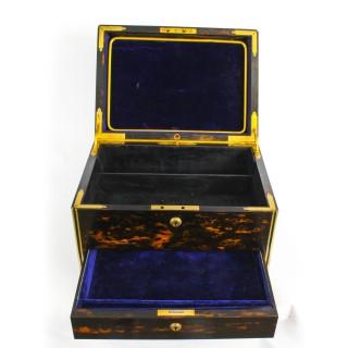Antique Coromandel & Brass Banded Jewellery Box Coton Hall c.1850