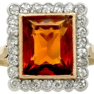3.61ct Citrine and 1.20ct Diamond, 18ct Yellow Gold Dress Ring - Antique Circa 1930