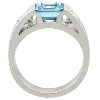 1.46ct Aquamarine and 0.55ct Diamond, Platinum Dress Ring - Vintage French Circa 1990