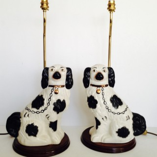 Pair of Staffordshire  Spaniel Dog Lamps.
