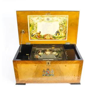 Antique Victorian 10 Aires BH&A 3 Bells Music Box Swiss Movement c.1870 19th C
