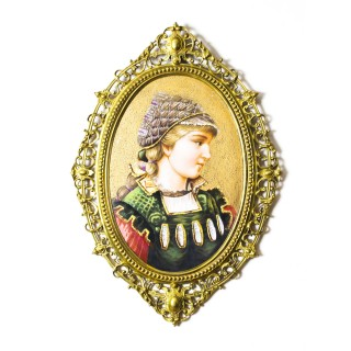 Antique Berlin Oval Porcelain Plaque Young Woman Ormolu Frame 19th C