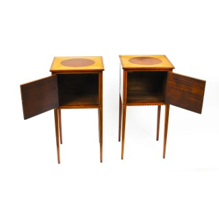 Antique Pair Victorian Mahogany & Sycamore Bedside Cabinets c.1880 19th Century