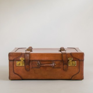 Large Tan Leather Suitcase with Straps and Tray