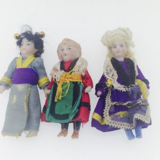 Three Late Nineteenth Century China Miniature Dolls.