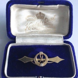 Antique Gold and Diamond Naval Brooch.