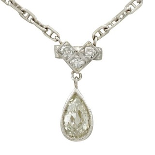 0.68ct Diamond and 9ct White Gold Necklace - Antique Circa 1930
