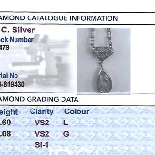 0.68ct Diamond and 9ct White Gold Necklace - Antique Circa 1930