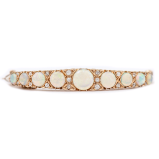18 Carat Gold Victorian Opal and Diamond Bangle Bracelet