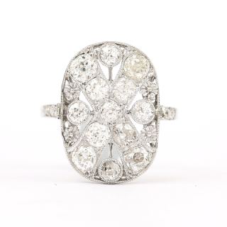 Platinum Original Art Deco Diamond 1.75 Carat Flat Plaque Dress Ring 1920s
