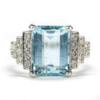 18 Carat White Gold Original Art Deco Est 5.00 Carat Aquamarine And Diamond Ring