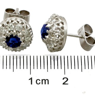 0.72ct Sapphire and 1.20ct Diamond, 8ct White Gold Stud Earrings - Vintage Circa 1980