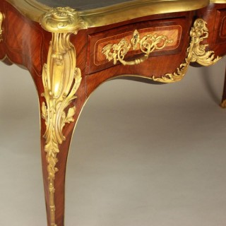 19th Century Louis XV Style Marquetry and Gilt-Bronze Writing Table or Bureau Plat