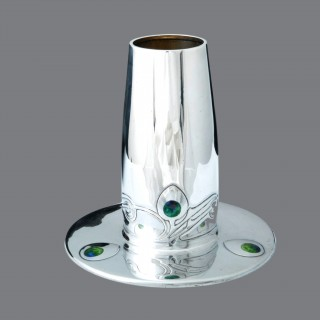 A stunning Archibald Knox Cymric silver and enamel vase