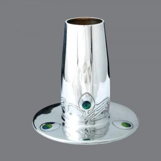 A stunning Archibald Knox Cymric silver and enamel vase