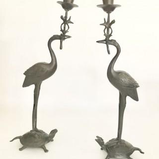 Antique Pair of Bronze Cranes Candlesticks.