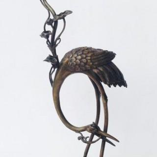 Tall Japanese Bronze Crane Candlestick.
