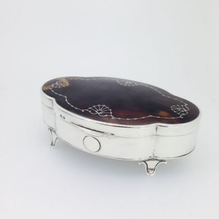 Silver and Tortoiseshell Trinket Box.
