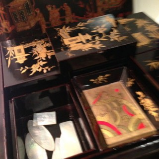 Antique Chinese Lacquer Games Box