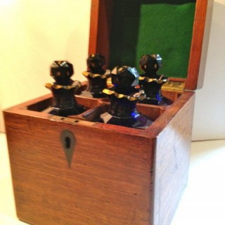 Antique Four Bottle Decanter Box Ex Mallets Stock.