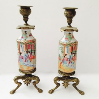 Pair Chinese Famille Rose Cantonese Candlesticks.