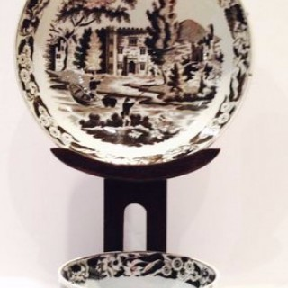 Antique Fishing themed Pottery Tea Bowl and Saucer