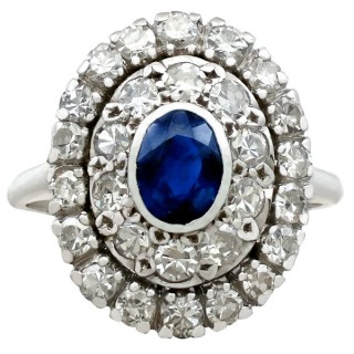 0.80ct Sapphire and 1.88ct Diamond, Platinum Cluster Ring - Vintage Circa 1940