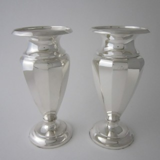 Antique George VI Sterling silver vases