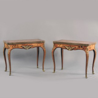A Pair of Louis XV Style Marquetry Inlaid Card Tables
