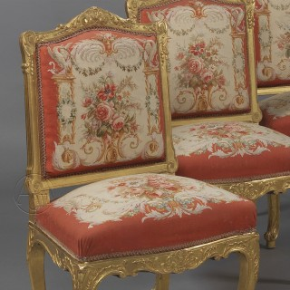 A Set of Six Louis XV Style Giltwood Side-Chairs