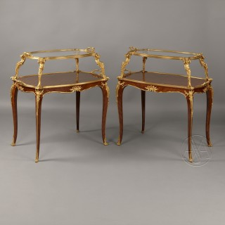 A Rare Near Pair of Louis XV Style Parquetry Étagère Tables