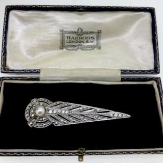 Art Deco Marcasite Clip Brooch