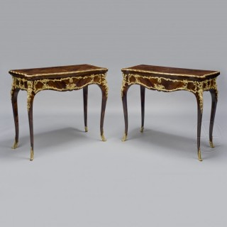 A Pair of Louis XV Style Gilt-Bronze Mounted Marquetry Card Tables
