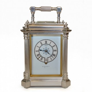 Silver carriage clock by Drocourt for E. White