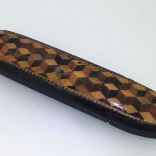 Antique Tunbridge Ware Spectacle Case.