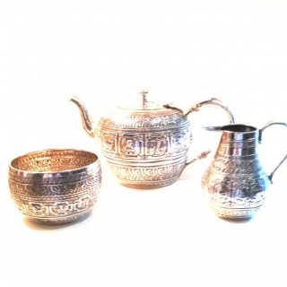 Antique Silver Three Piece Tea Set.
