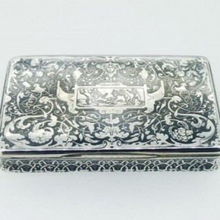 Antique Sweedish Niello Silver Box.